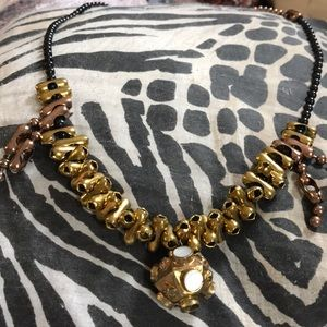 Beaded Chain Hand Made Necklace Black,Copper,Gold